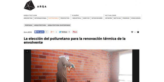 ARQA recomienda el Poliuretano para la rehabilitación térmica de la envolvente