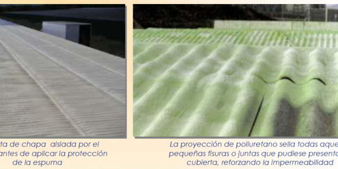 Cubierta ligera aislada por el exterior con poliuretano proyectado