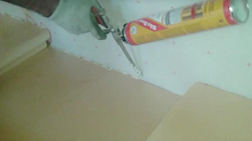 Junta suelo pared espuma de poliuretano