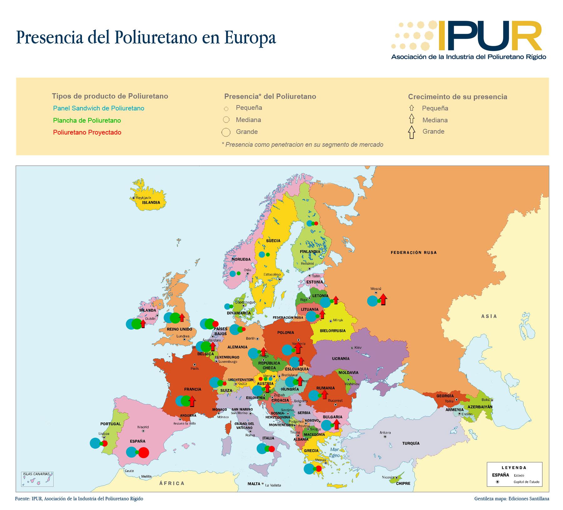 Mapa presencia del poliuretano en Europa by IPUR