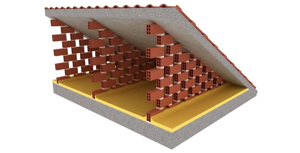 Cubierta aislada con poliuretano entre tabiques palomeros for Tipos de tejados de casas