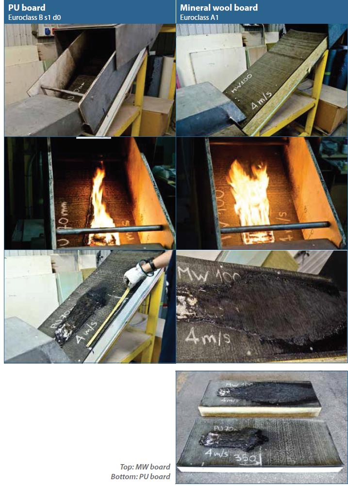 comparativa lana mineral poliuretano fuego segunda fase